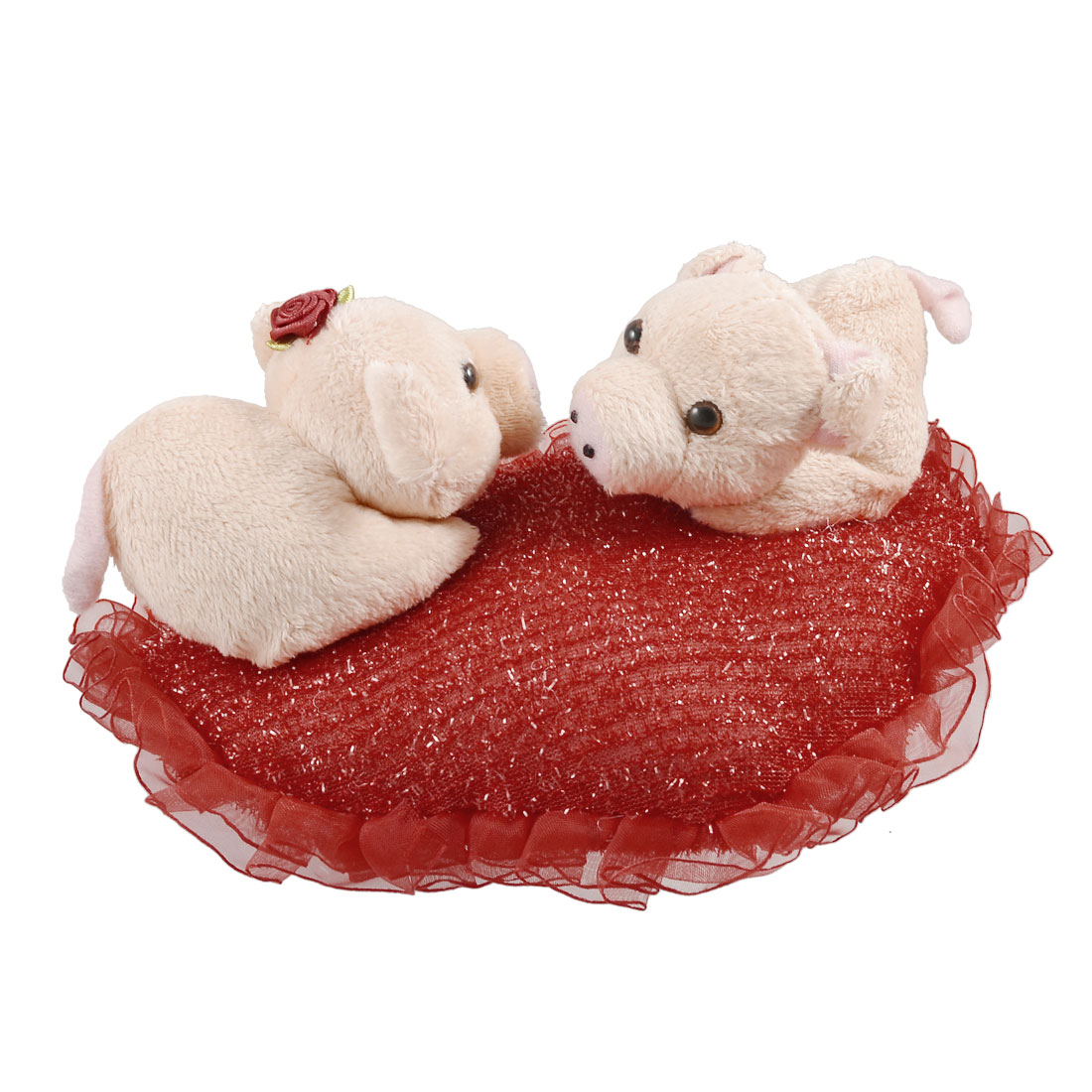 Children Beige Soft Plush Double Cartoon Pigs on Red Heart Shape Toy