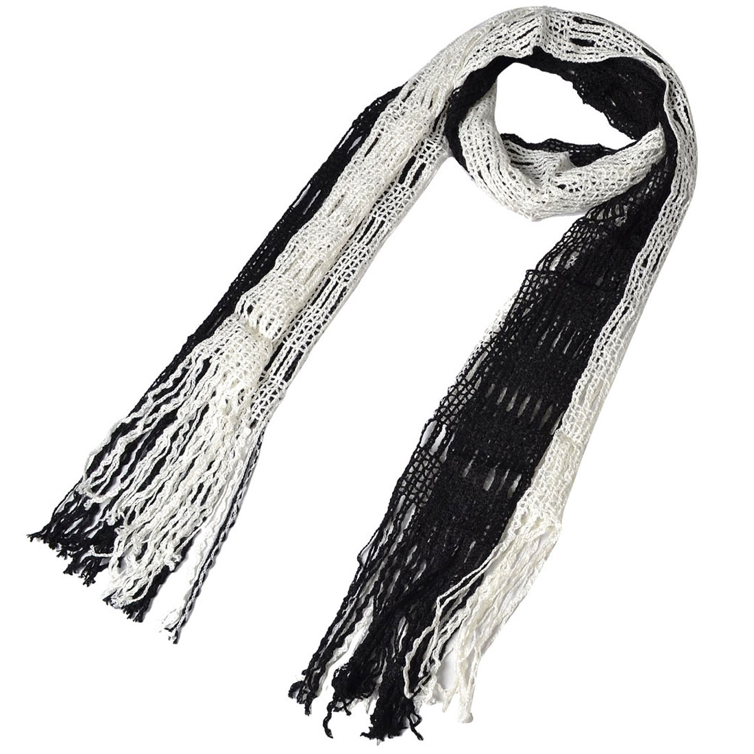 Woman White Black Winter Warm Knitting Tassel Neck Scarf