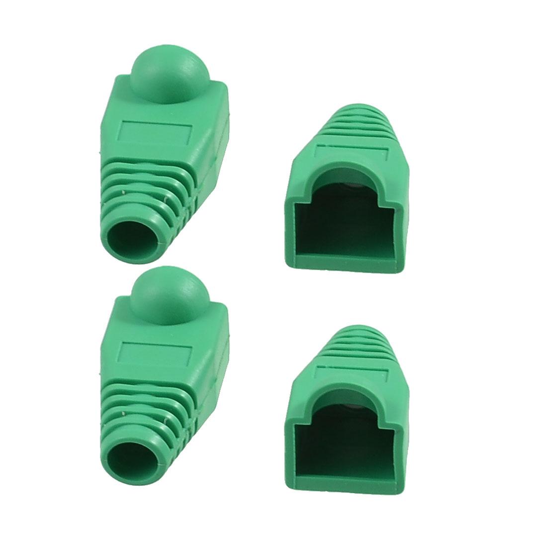 4 Pcs Green Plastic Network Cable Boot Cap Cover for RJ-45 Connectors