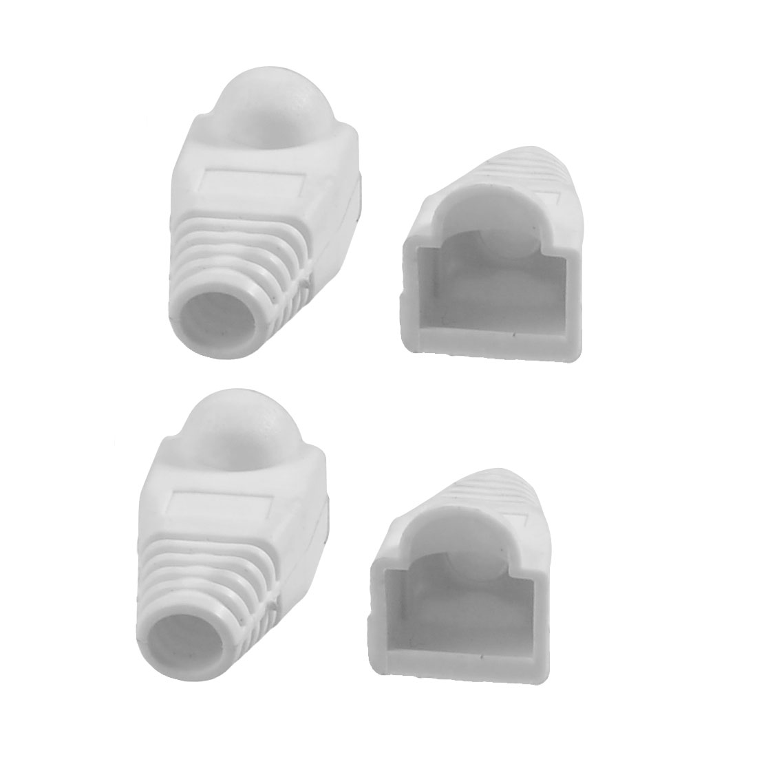 4 Pcs White Plastic Network Cable Boot Cap Cover for RJ-45 Connectors