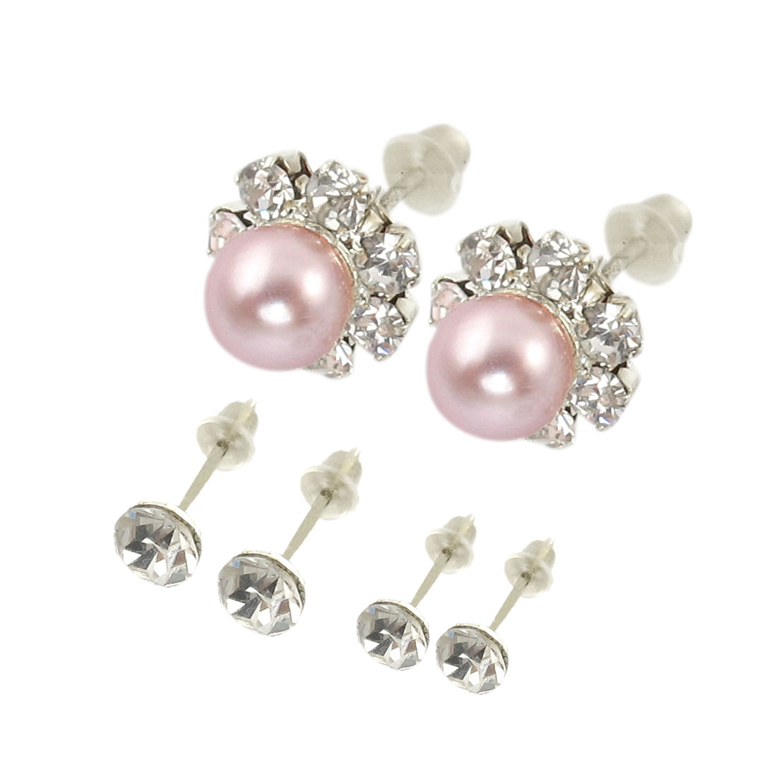 Women Pink Rhinestone Inlaid Earrings Stud 6 Pcs