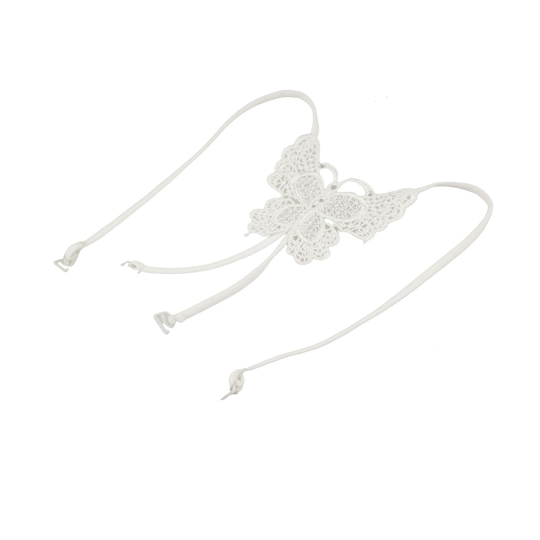 Ladies White Butterfly Style Elastic Cross Back Bra Shoulder Strap