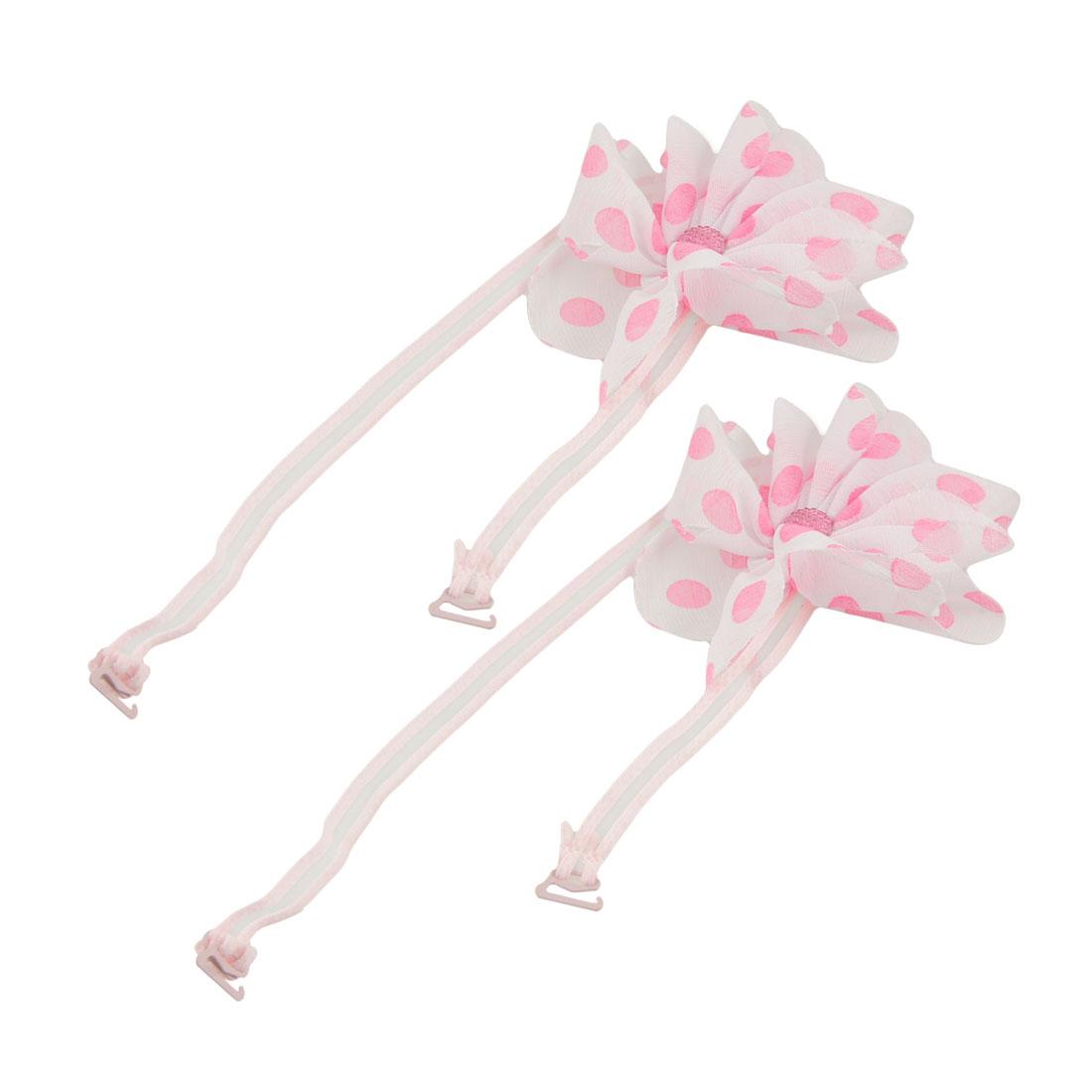 2 Pcs Pink White Flower Accent Elastic Bra Shoulder Straps for Ladies