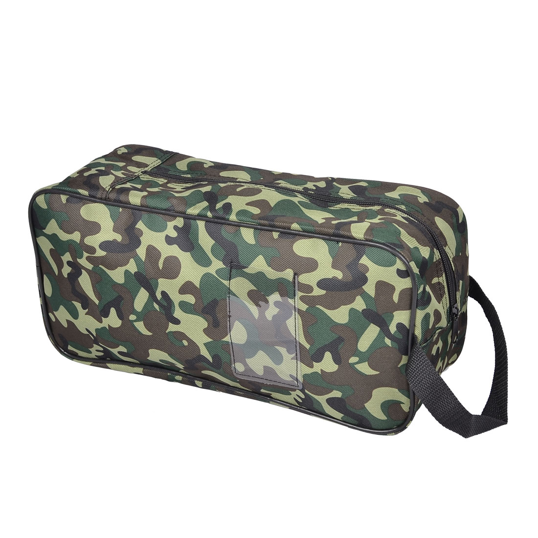 Camouflage Pattern Black Lining Zipped Travel Shoe Bag w Hand Strap