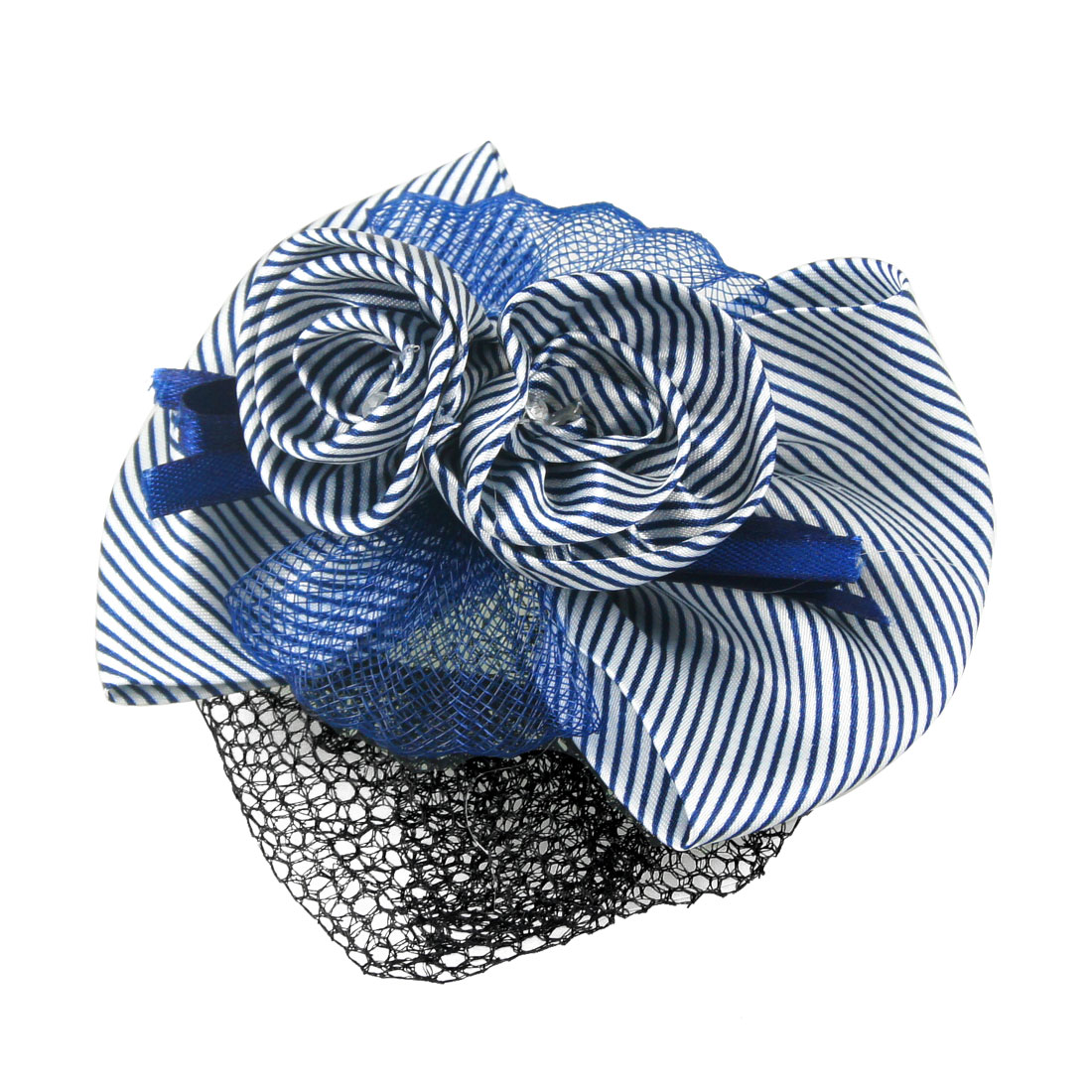 Lady Blue Headdress Two Layers Bowtie Accent Hairclip Hairnet