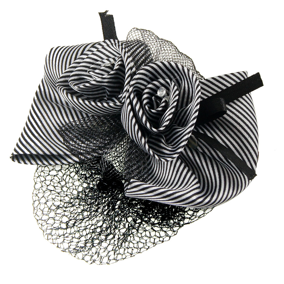 Black White Stripe Floral Bowknot Accent Snood Net Hairclip