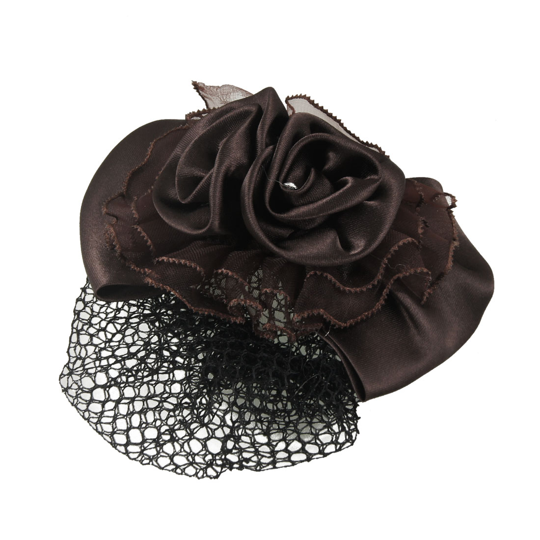 Women Clear Rhinestone Details Coffee Color Bowtie Decor Black Hairnet Hairclip