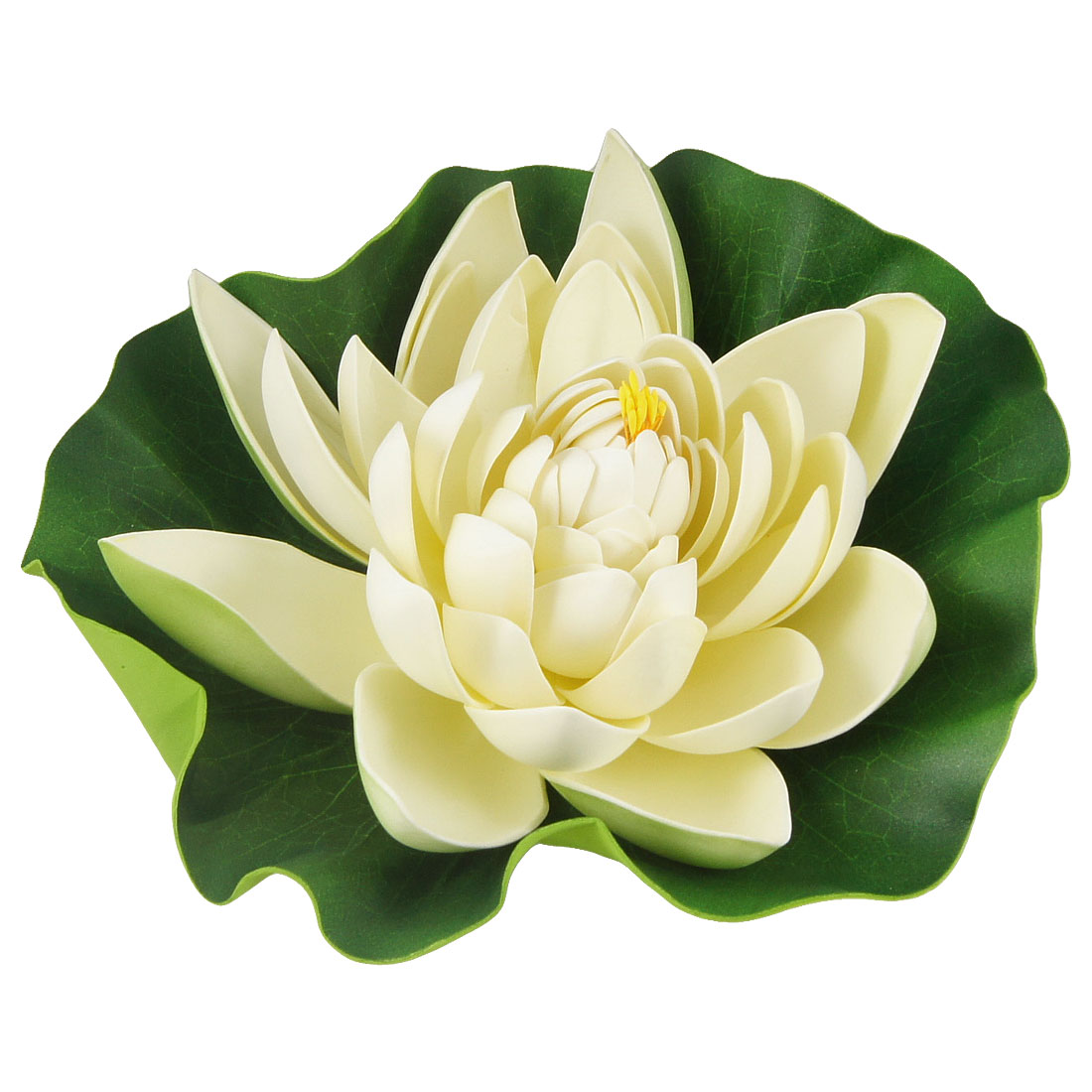 Aquarium Foam Green White Floating Lotus Ornament for Fish Tank