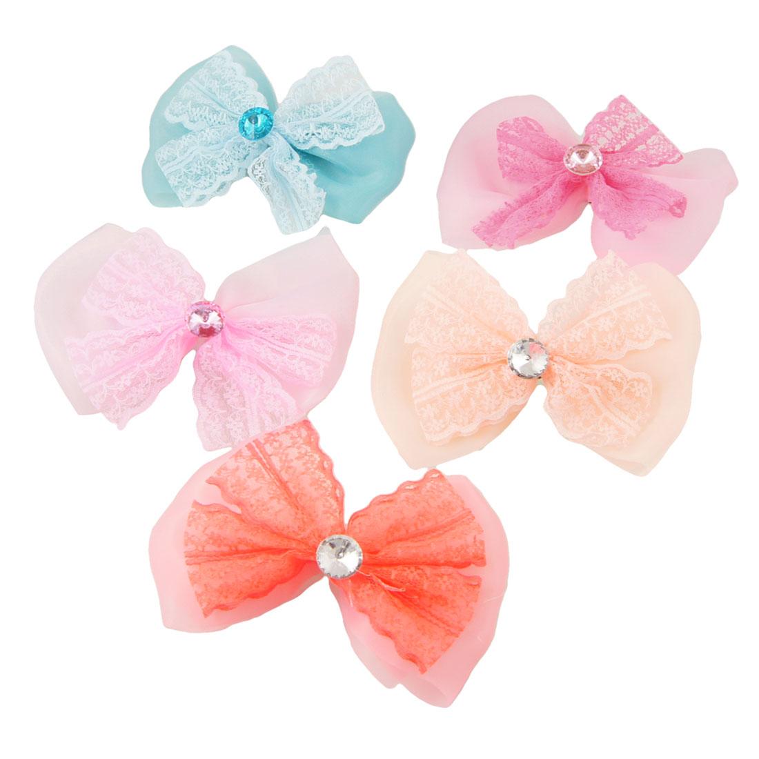 5 Pcs Rhinestone Accent Colorful Organza Lace Bowknot Hairclips