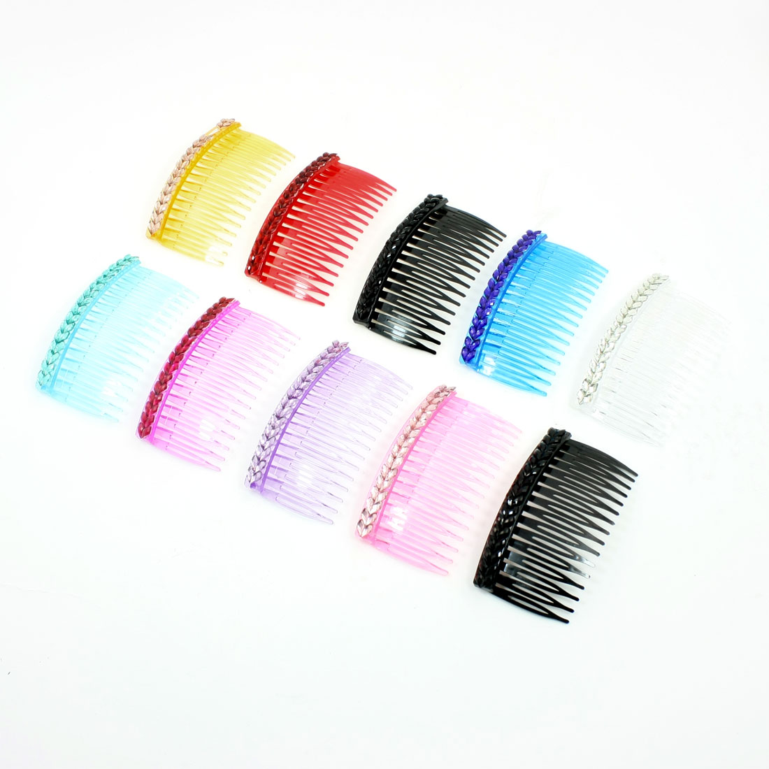 10 Pcs Assorted Color Double Row Rhinestone Decor Hair Comb for Women