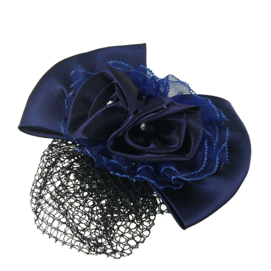 Ladies Navy Blue Flower Bowknot Accent Snood Net Hairclip