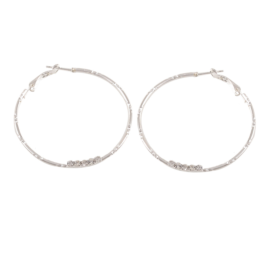 Silver Tone Rhinestone Decor Spring Hoop Earrings for Women