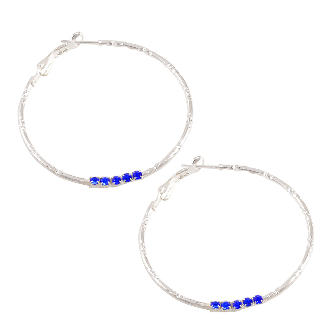 Women Royal Blue Rhinestone Decor Spring Hoop Earrings