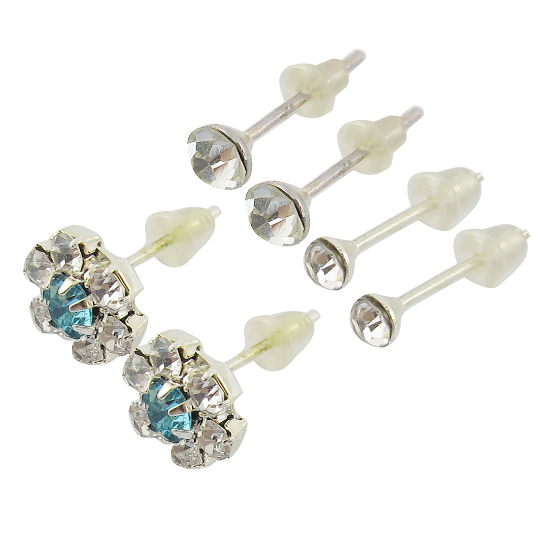 Ladies Teal Rhinestone Detailing Silver Tone Stud Earrings 3 Pairs