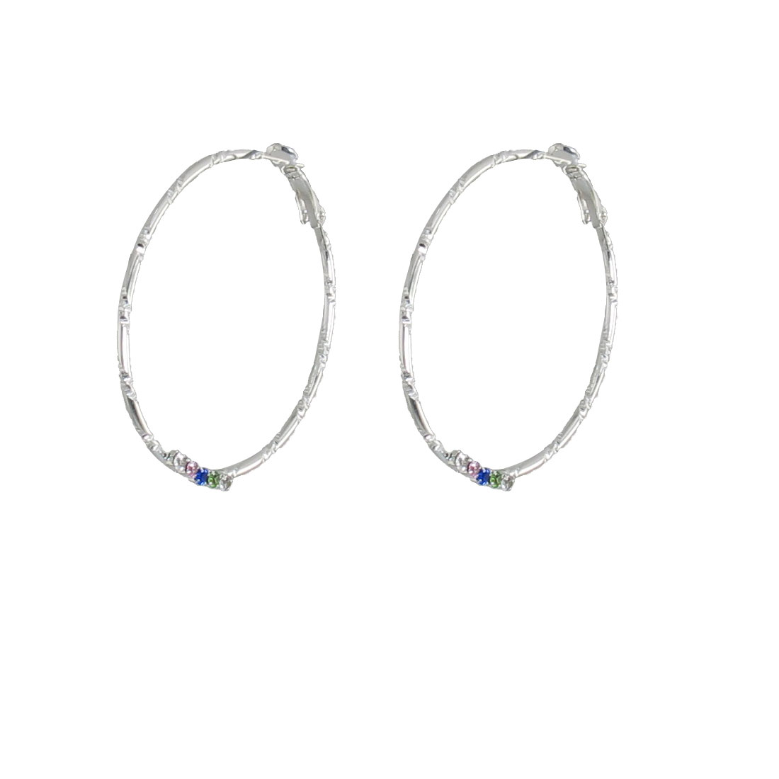 Pair Rhinestone Inlaid Silver Tone Spring Hoop Earrings for Woman