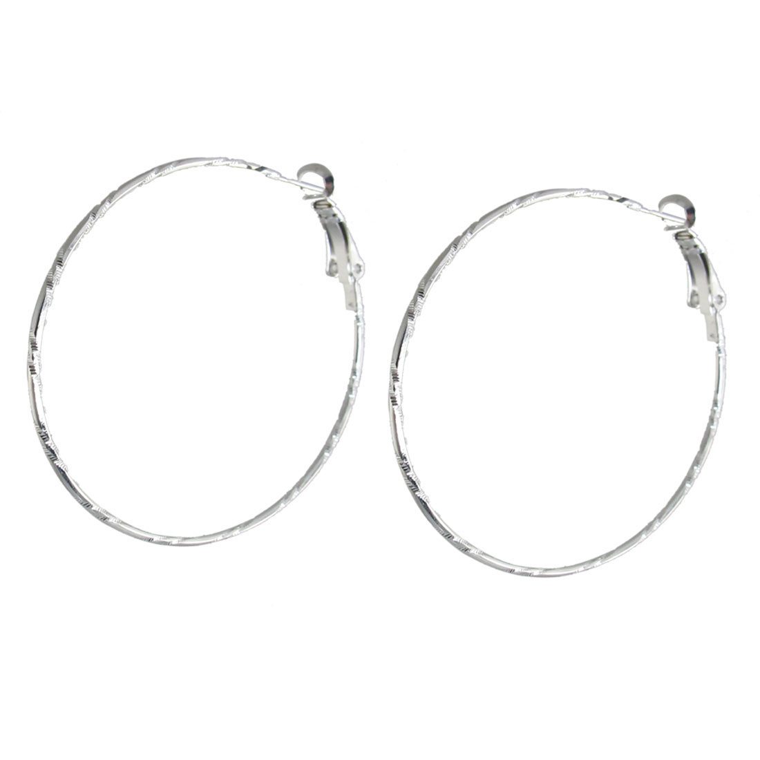 "1.9"" Dia Pair Silver Tone Carved Spring Hoop Earrings for Women"