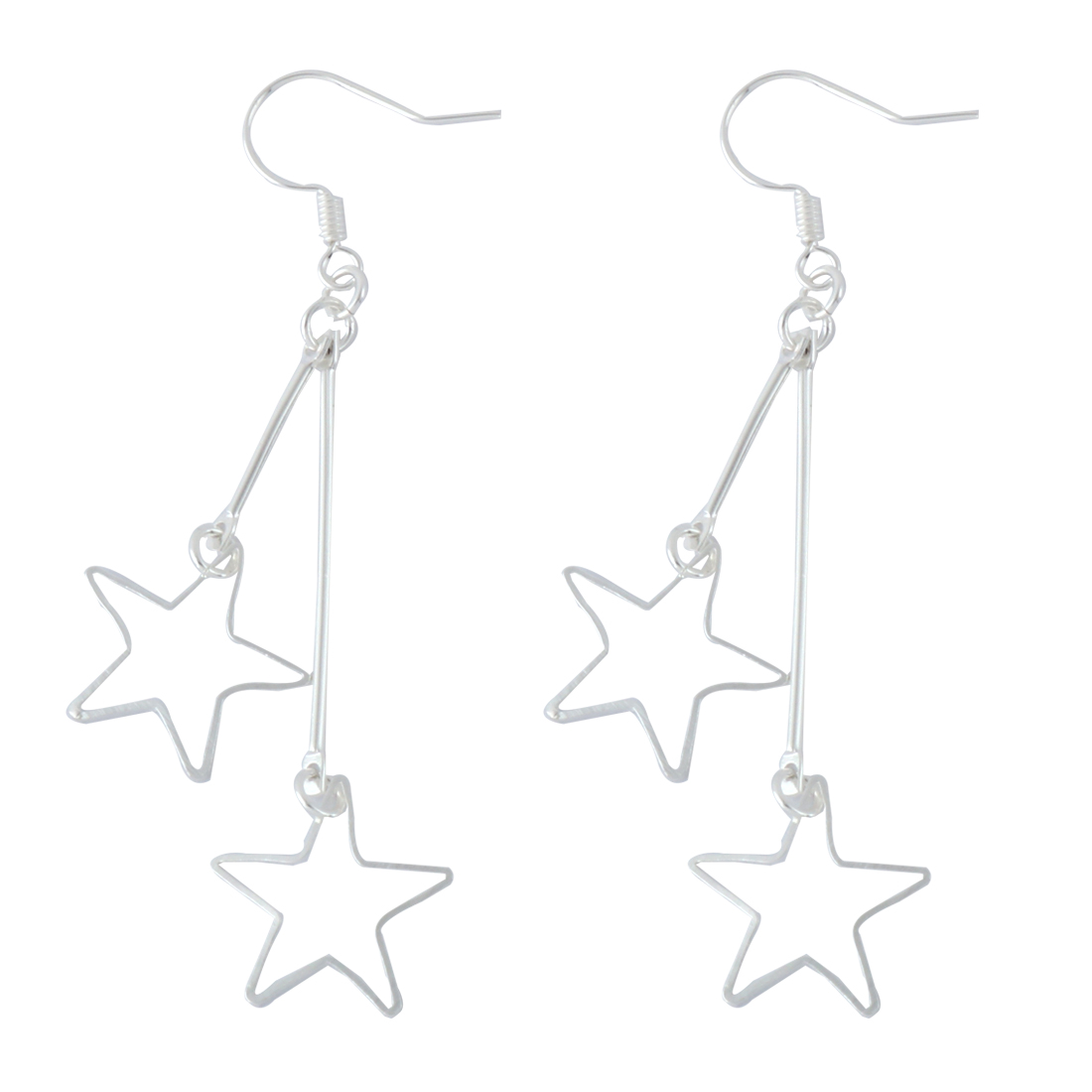 Women Metal Star Shaped Pendant Dangler Hook Eardrop Earrings Silver Tone Pair
