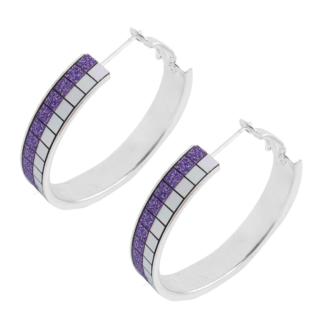 Purple Checkered Pattern Silver Tone Clip On Spring Hoop Earrings