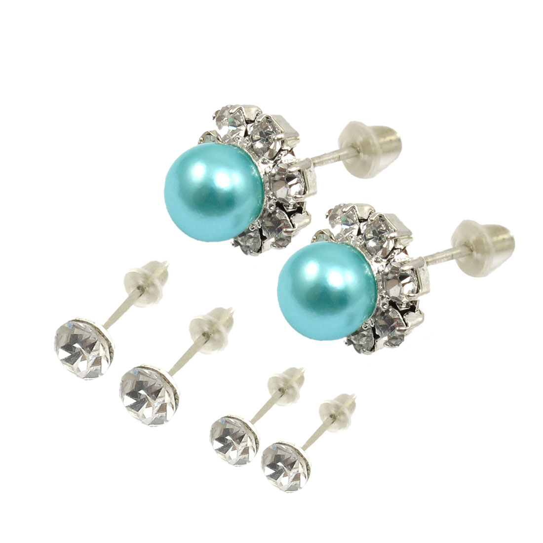 Light Blue Bead Rhinestone Inlaid Earrings Stud For Women 6 Pcs