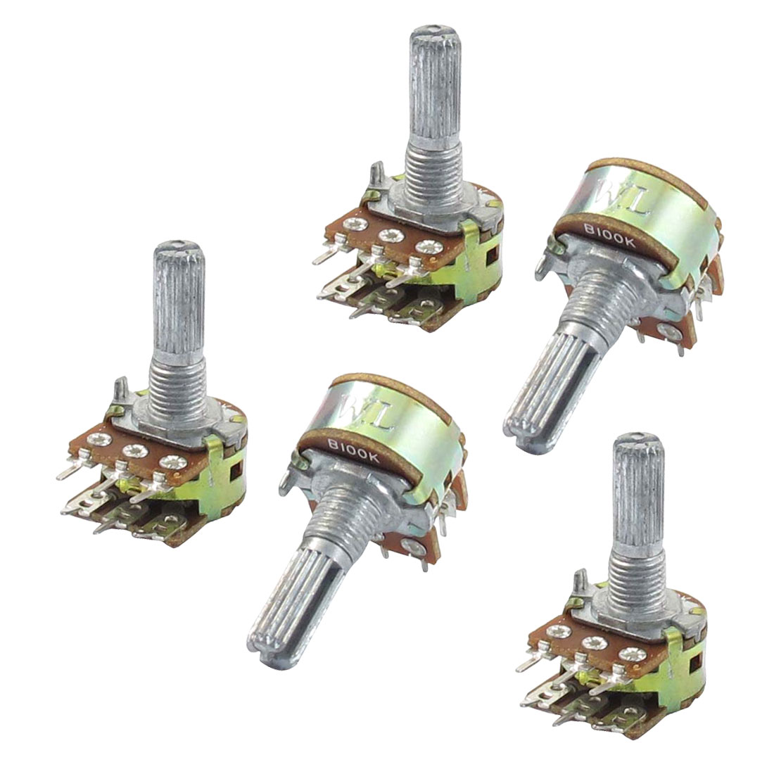 5 Pcs B100K 100K ohm 6 Pins Split Shaft Rotary Linear Dual Taper Potentiometers