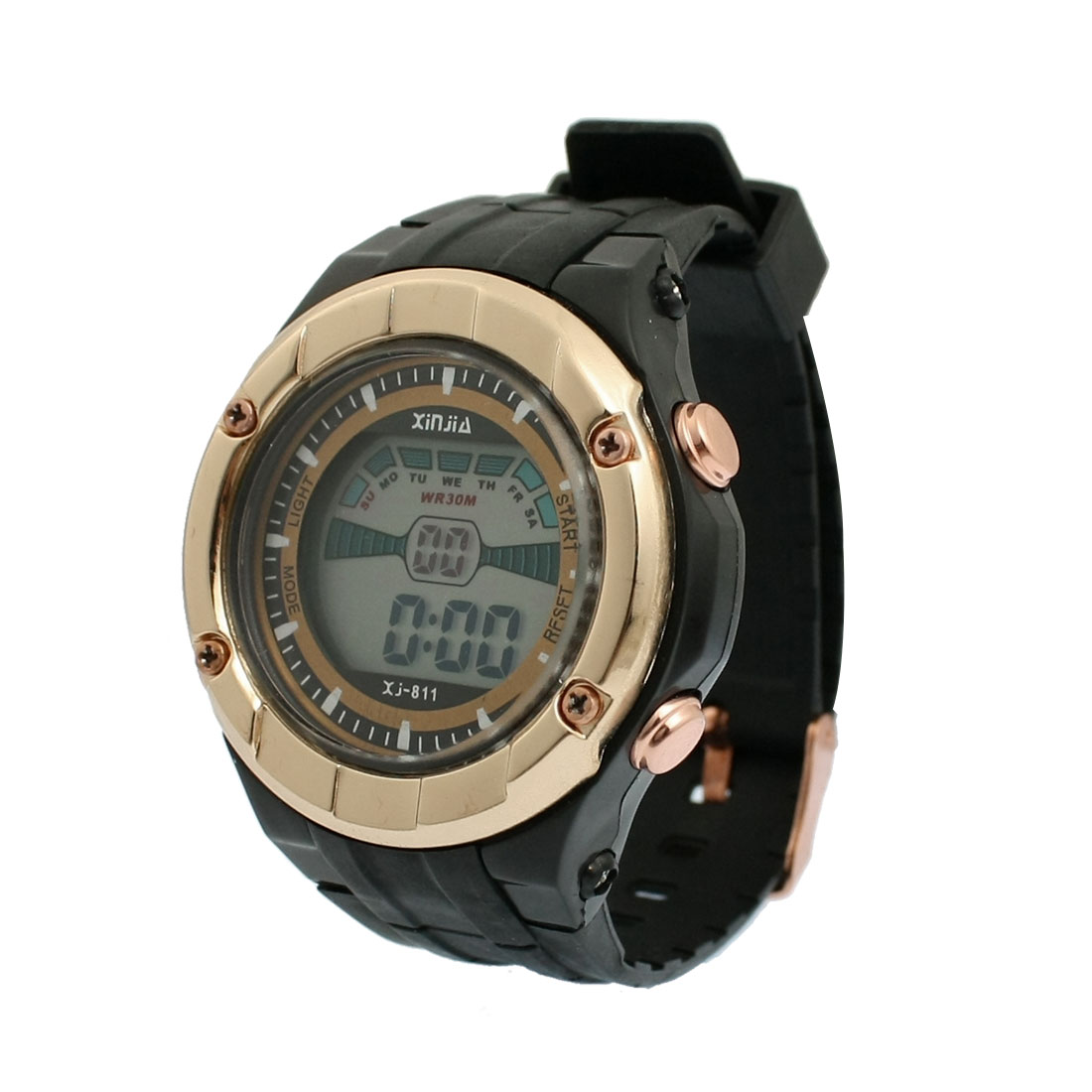 Adjustable Band Coldlight Stopwatch Alarm Clock Watch Black Gold Tone
