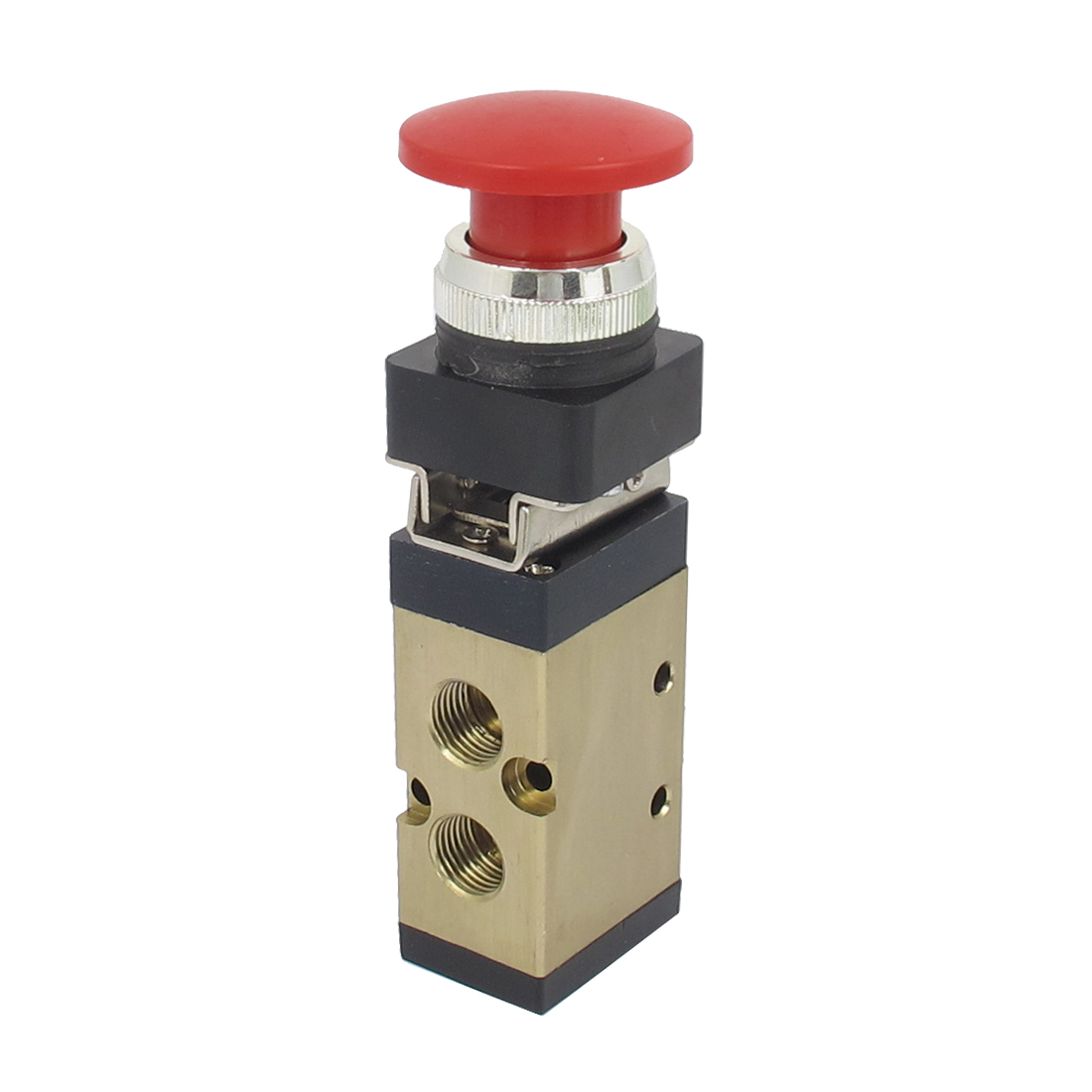 "MSV-86522PB 1/4"" PT 2/5 Way Momentary Red Mushroom Button Air Mechanical Valve"