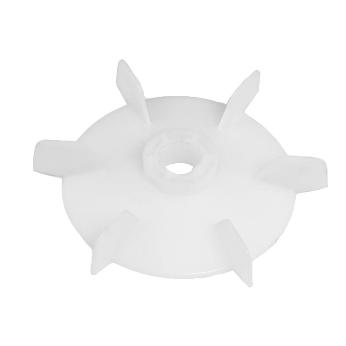 Machine Part Off White Plastic 18mm Inner Dia. Six Vanes Motor Fan Leaf