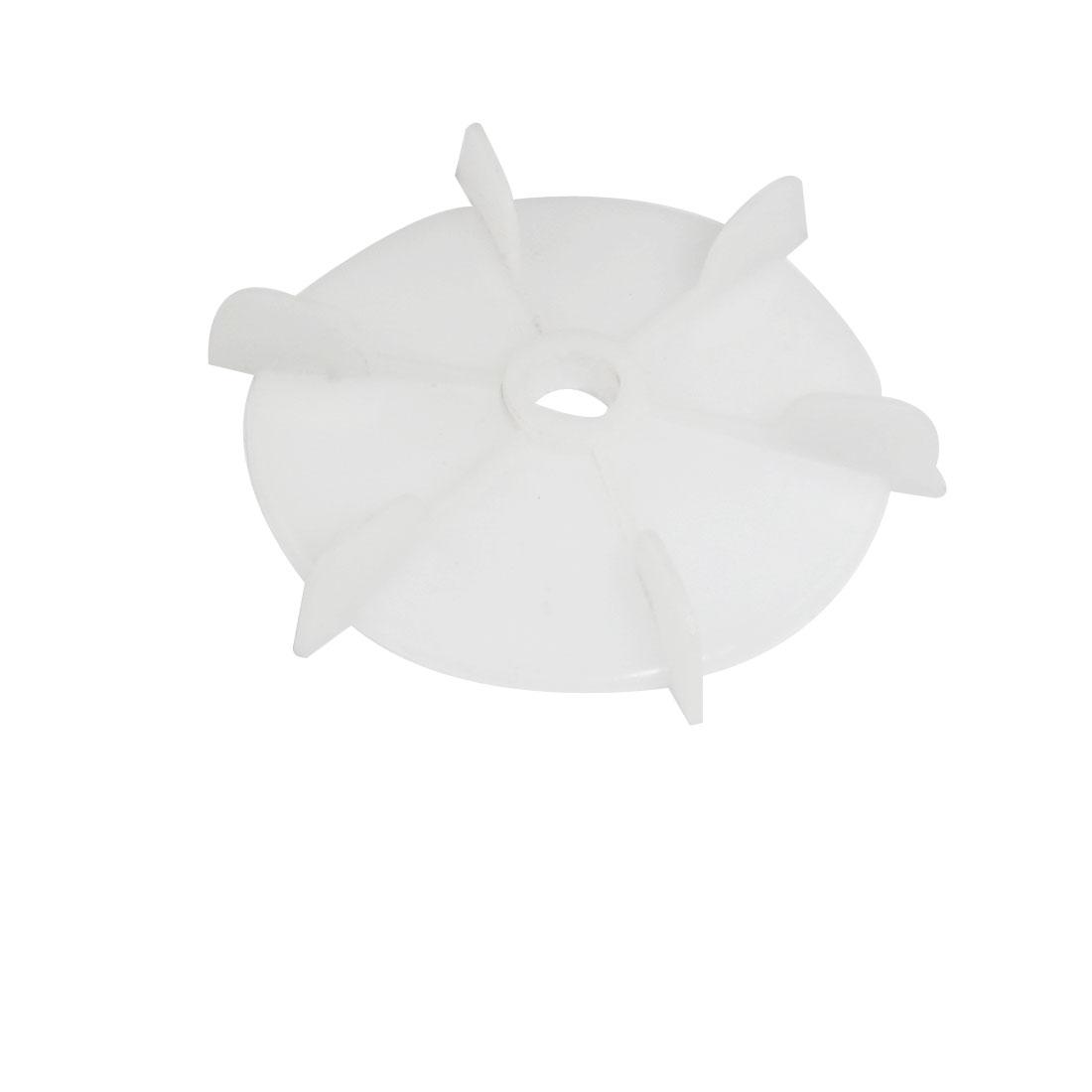Machine Part Off White Plastic 15mm Inner Dia. Six Impeller Motor Fan Vane