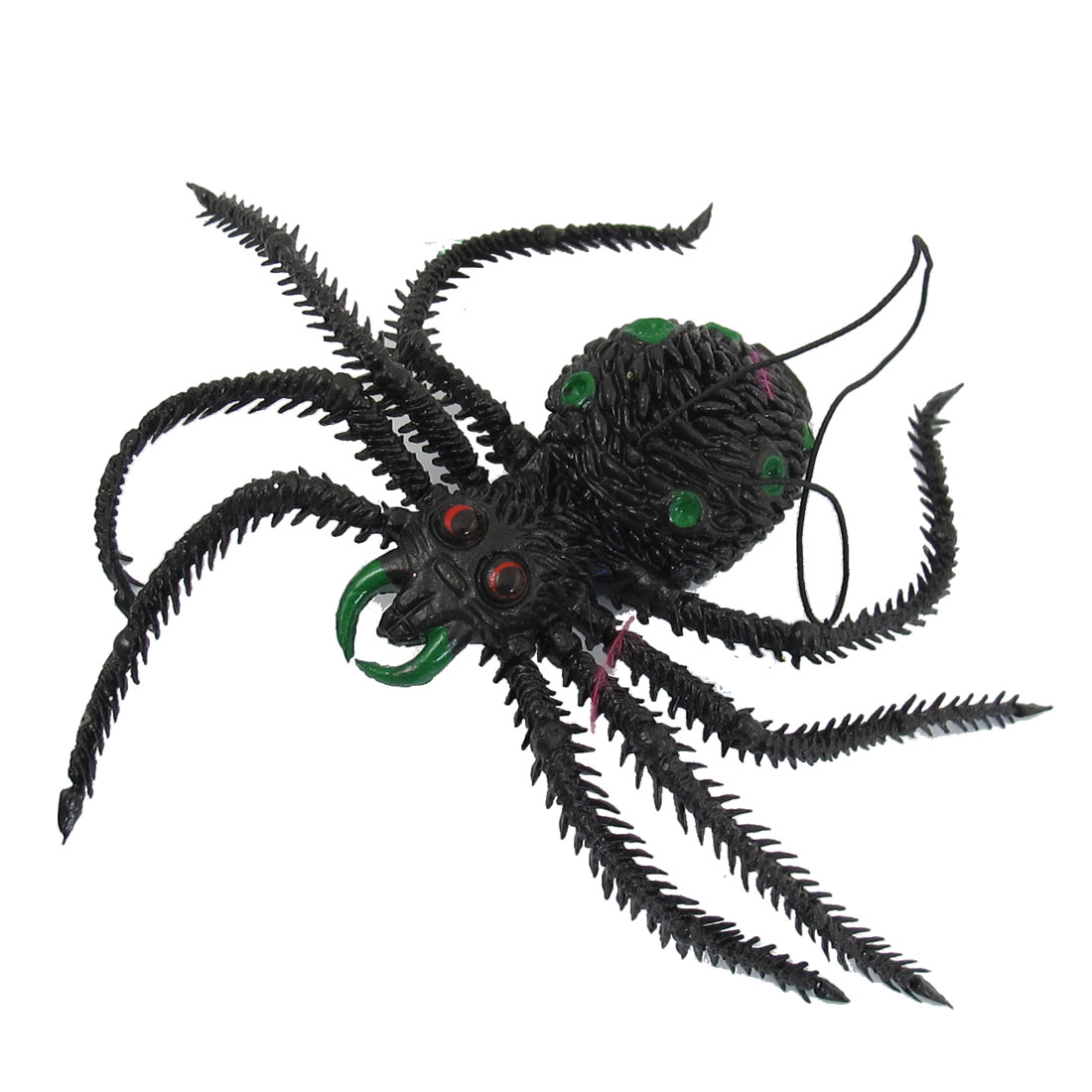 Halloween Toy Green Dots Black Rubber Simulated Spide