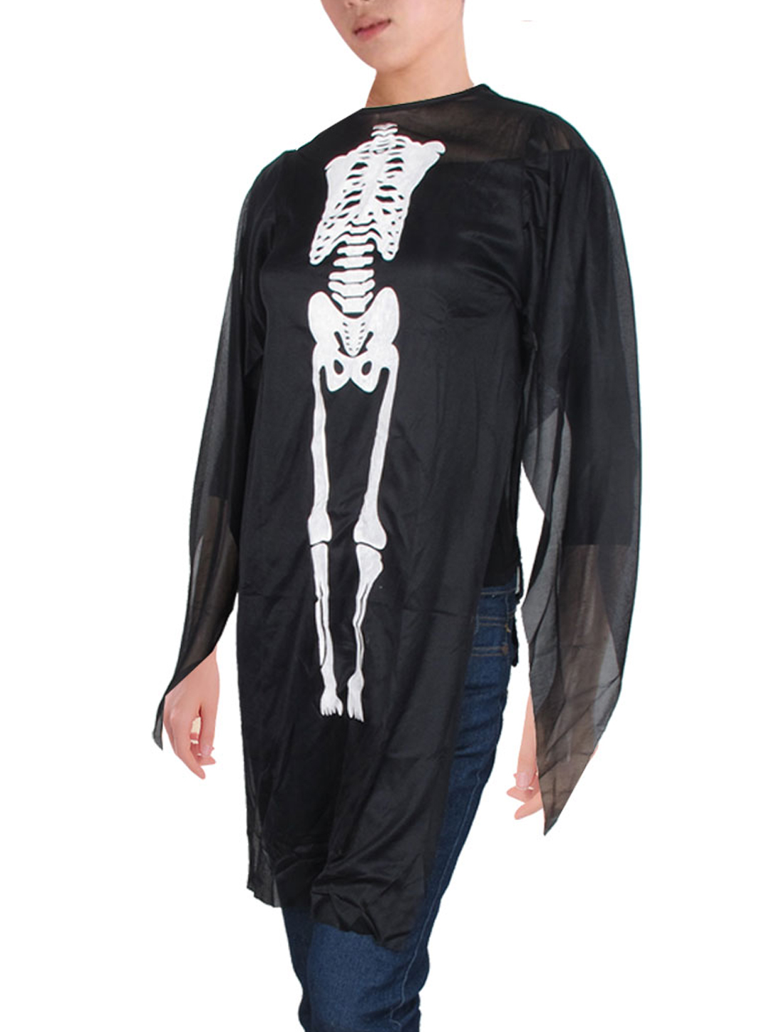 Black Round Neck Skull Skeleton Pattern Semi Sheer Ghost Costume for Ladies XS