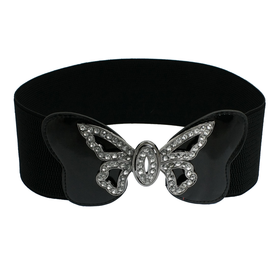 Women Butterfly Design Interlock Buckle Wide Elastic Belt Waisband Black