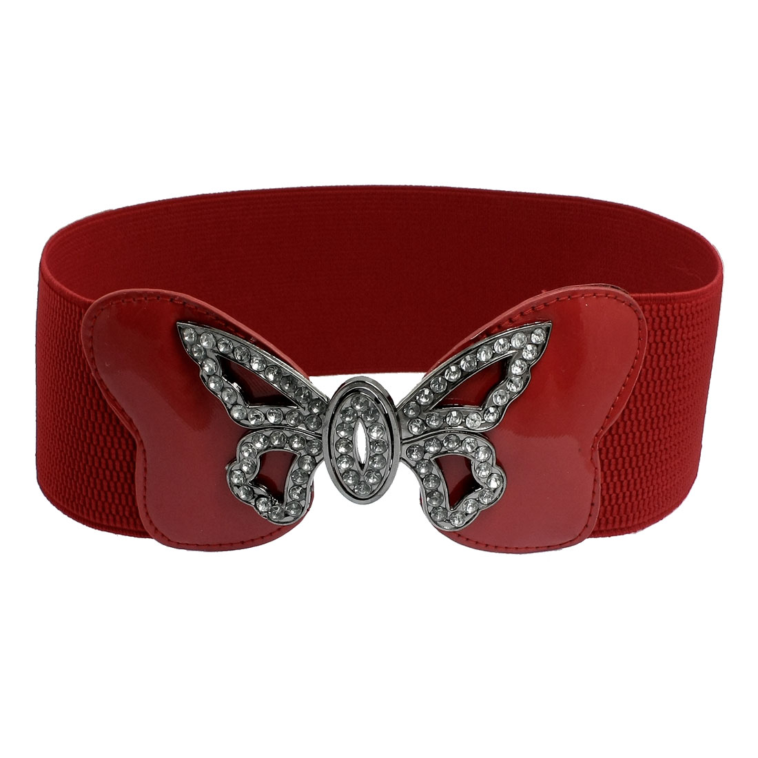 "Women Faux Rhinestone Butterfly Buckle 3"" Wide Dark Red Stretch Waist Belt"