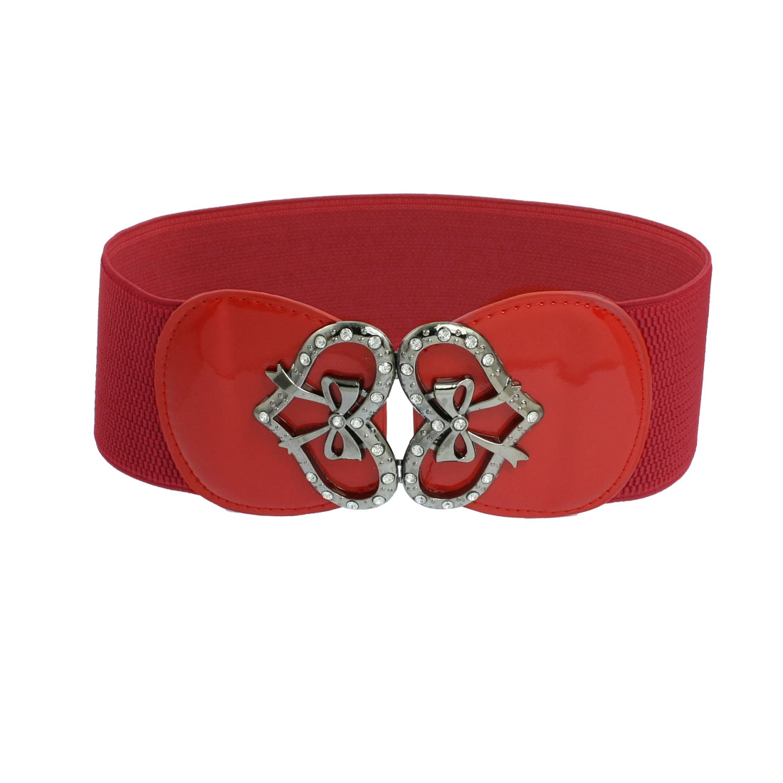 Women Heart Design Buckle Dark Red Textured Elastic Belt Cinch Waistband