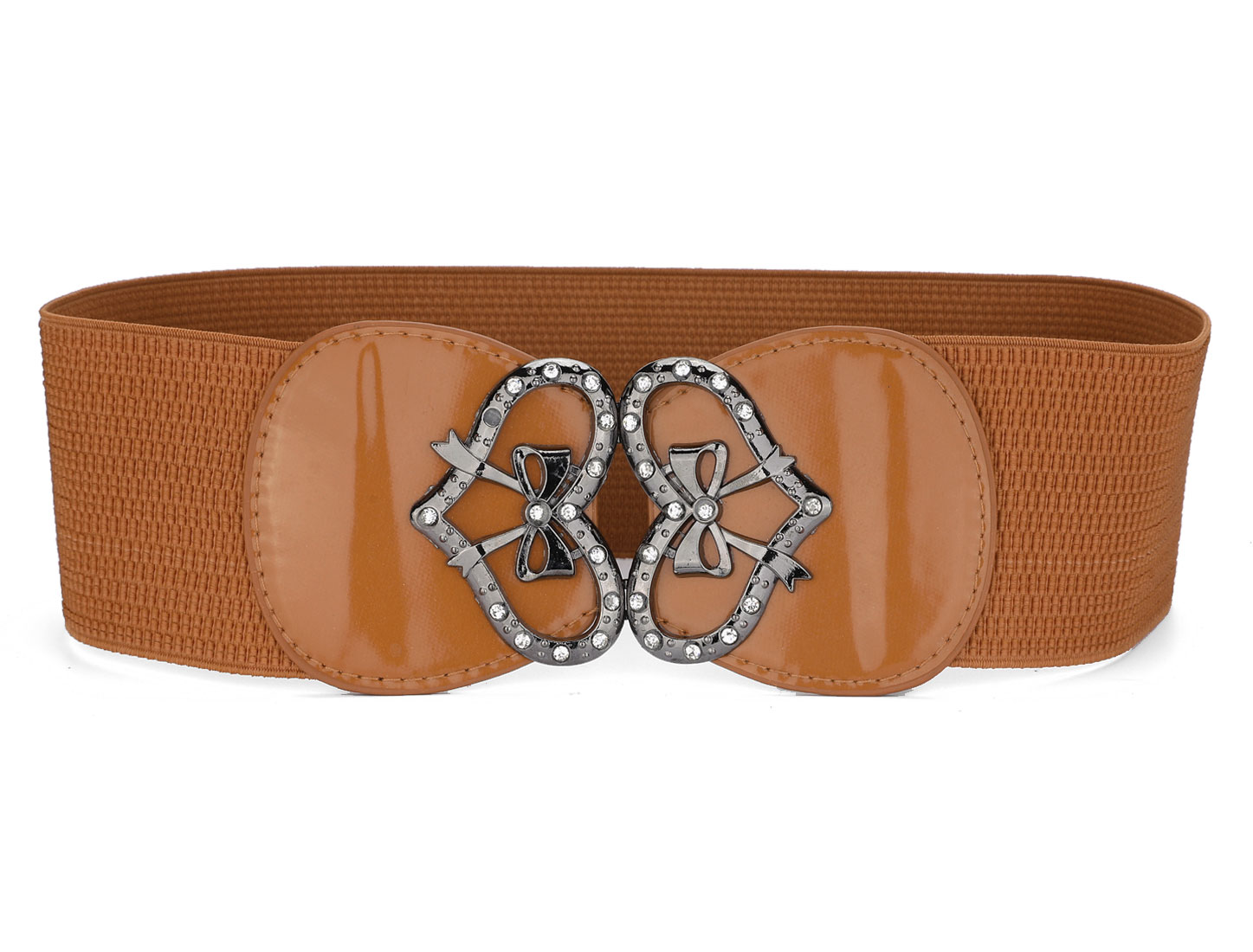 Women Heart Design Buckle Brown Textured Elastic Belt Cinch Waistband