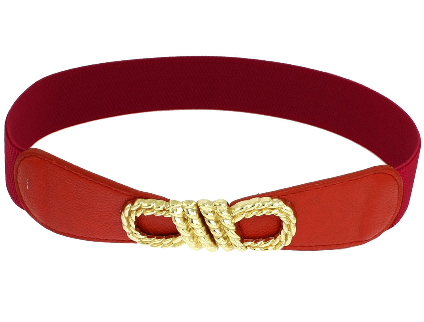Women Knot Design Metal Buckle Stretch Belt Waistband Cinch Dark Red
