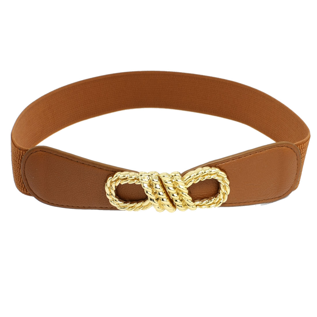 Women Gold Tone Knot Buckle Elastic Waist Belt Waistband Cinch Brown