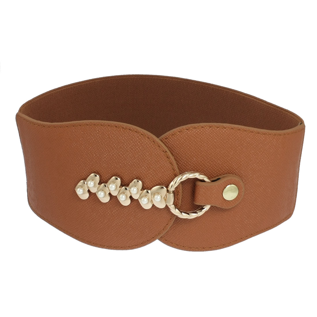 Women Lychee Pattern Front Hook Buckle Stretch Belt Waistband Brown