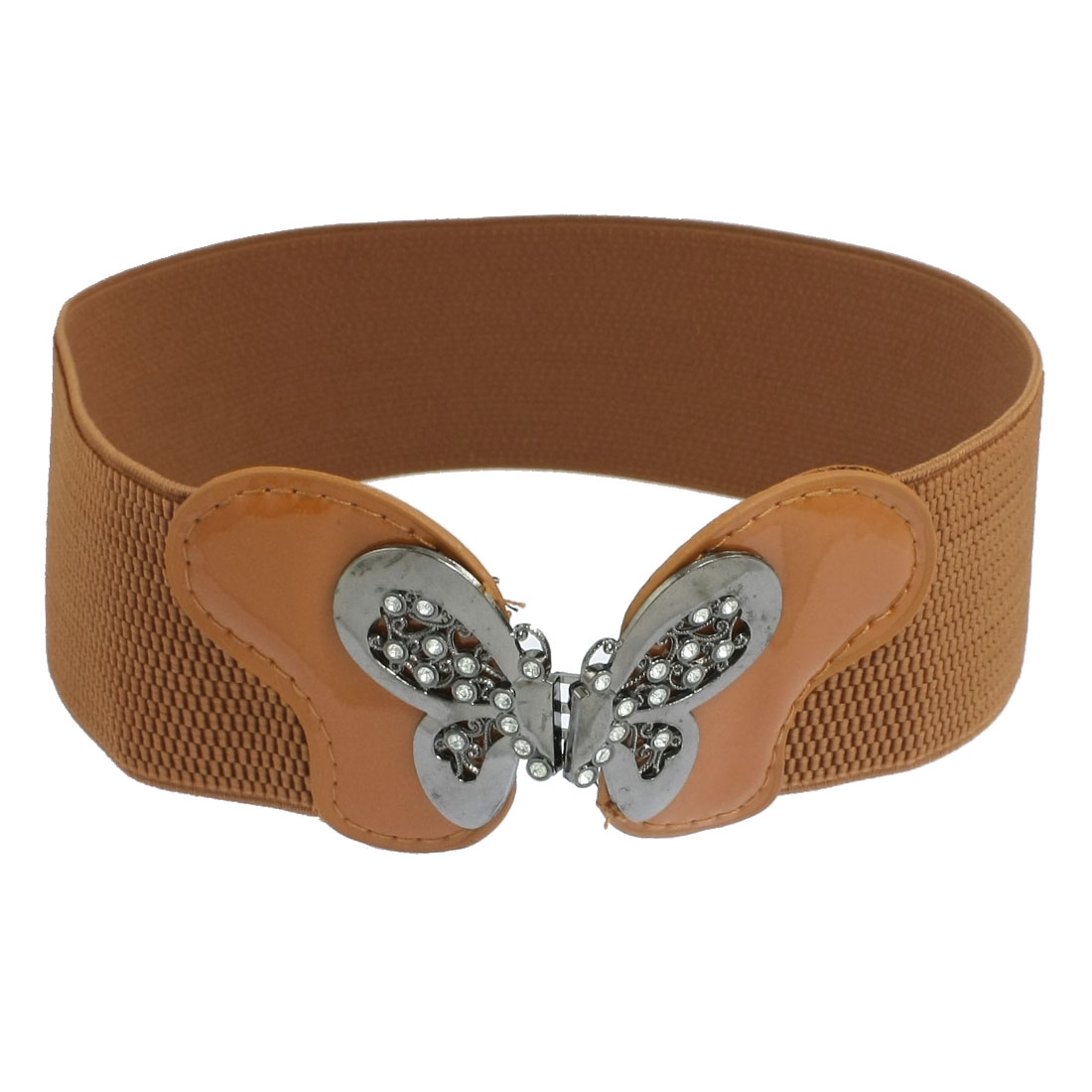 Women Interlocking Buckle Brown Textured Stretch Waist Belt Cinch Waistband
