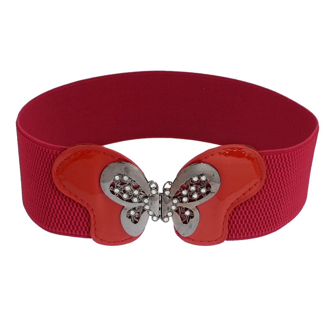Women Butterfly Shape Interlocking Buckle Elastic Belt Strap Waisband Dark Red