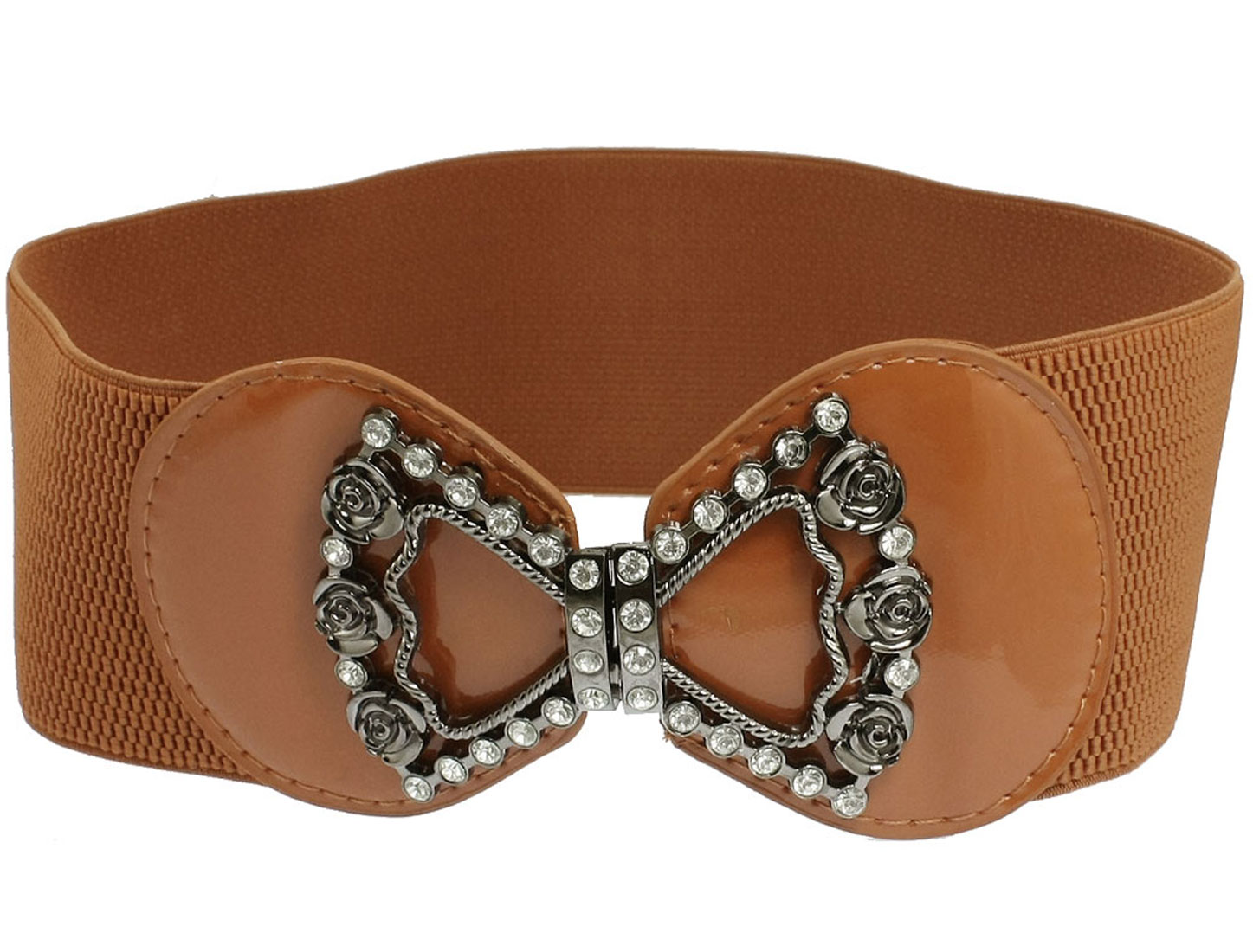 Women Bowknot Design Interlock Buckle Wide Stretch Waisband Belt Brown