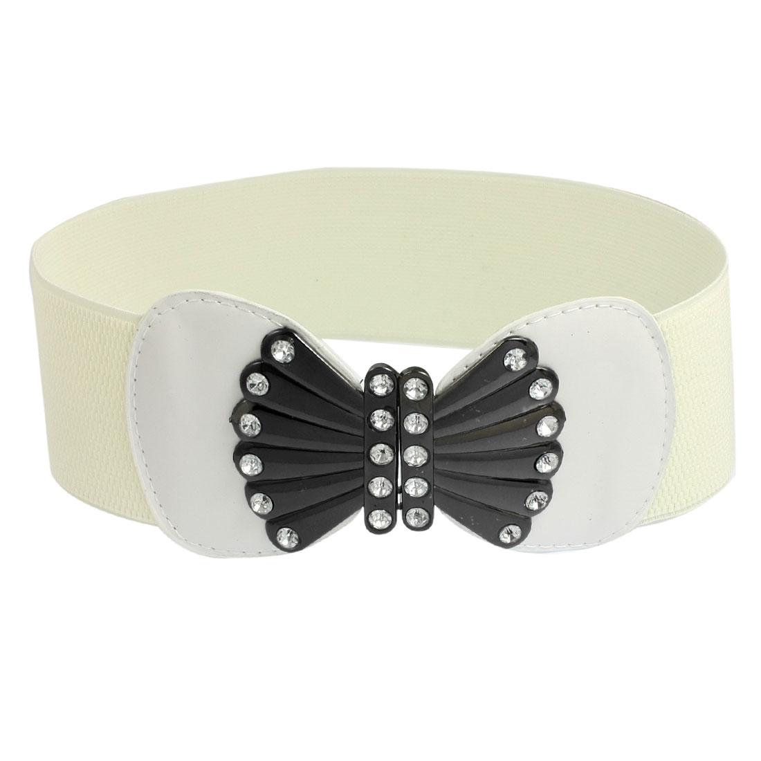 Women Bowknot Interlocking Buckle Off White Stretch Waist Belt Cinch Waistband