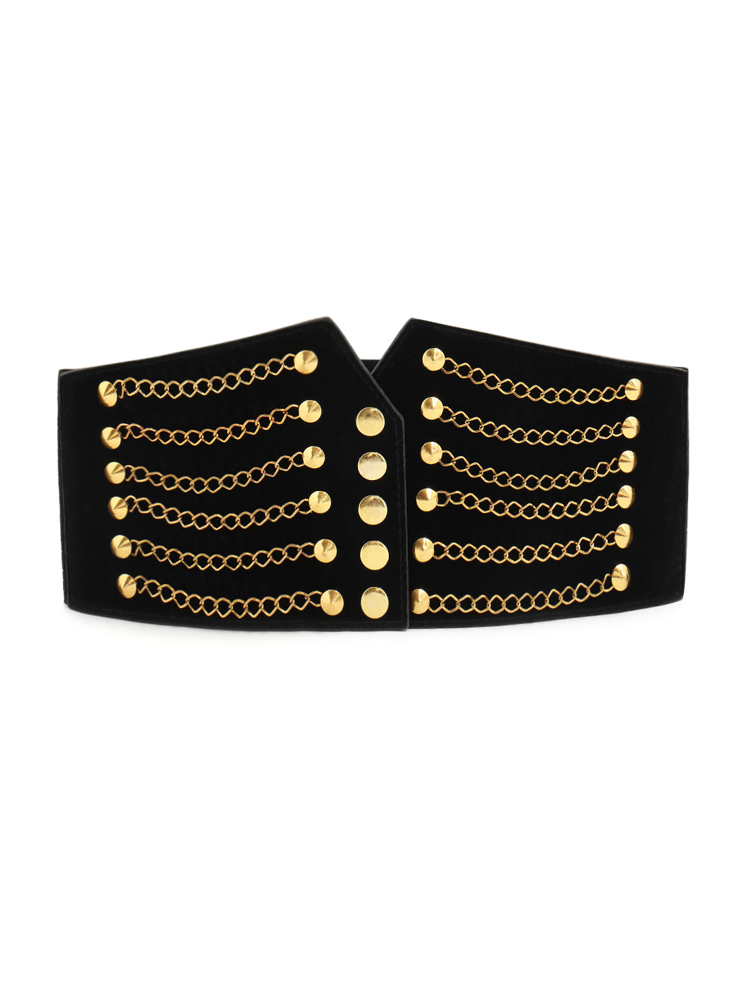 Women Gold Tone Chain Front Elastic High Waist Belt Cinch Black