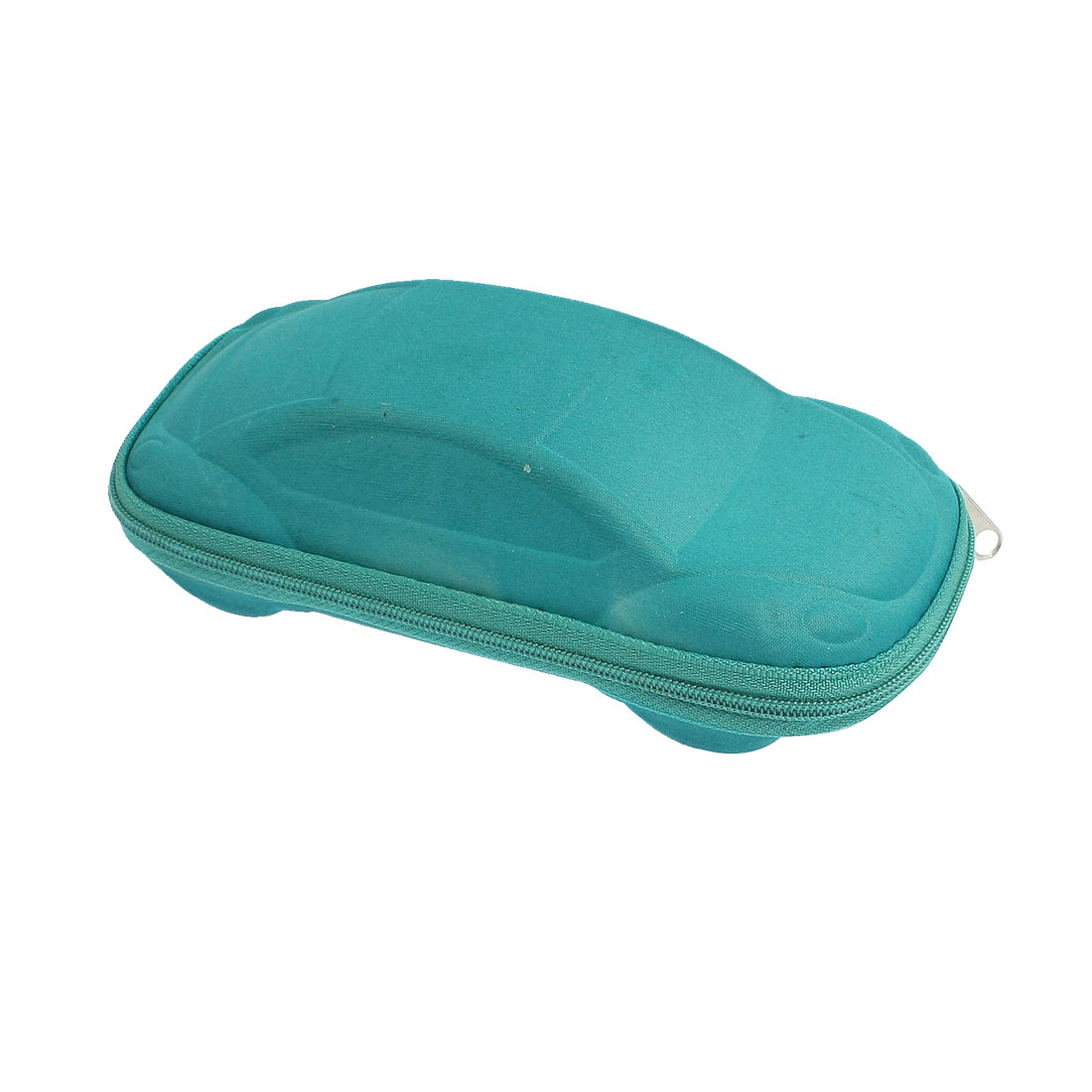 Teal Black Car Shaped Slide Fastener Eyeglasses Sunglasses Case Holder