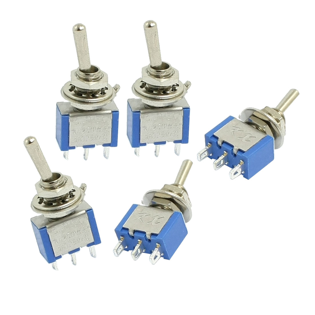 5 Pcs On/On SPDT Sinlge Pole Double Throw Mini Toggle Switch AC 250V/3A 125V/5A