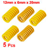 Yellow 12mm x 6mm x 20mm Rectangular Section Mould Die Spring 5 Pcs