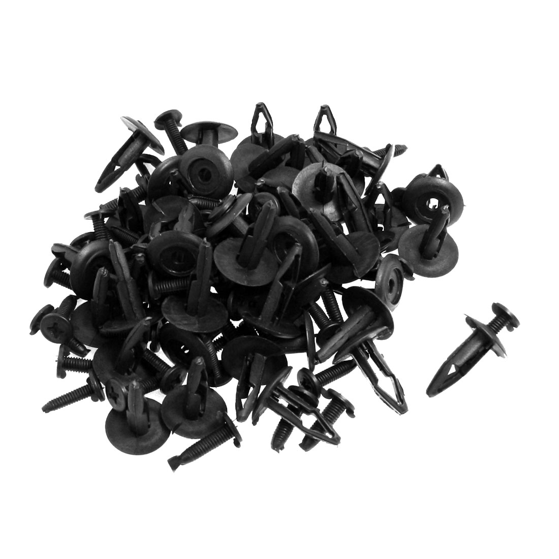 50 Pcs 7mm Hole Plastic Fastener Rivet Push Type Retainer Bumper Clips Black