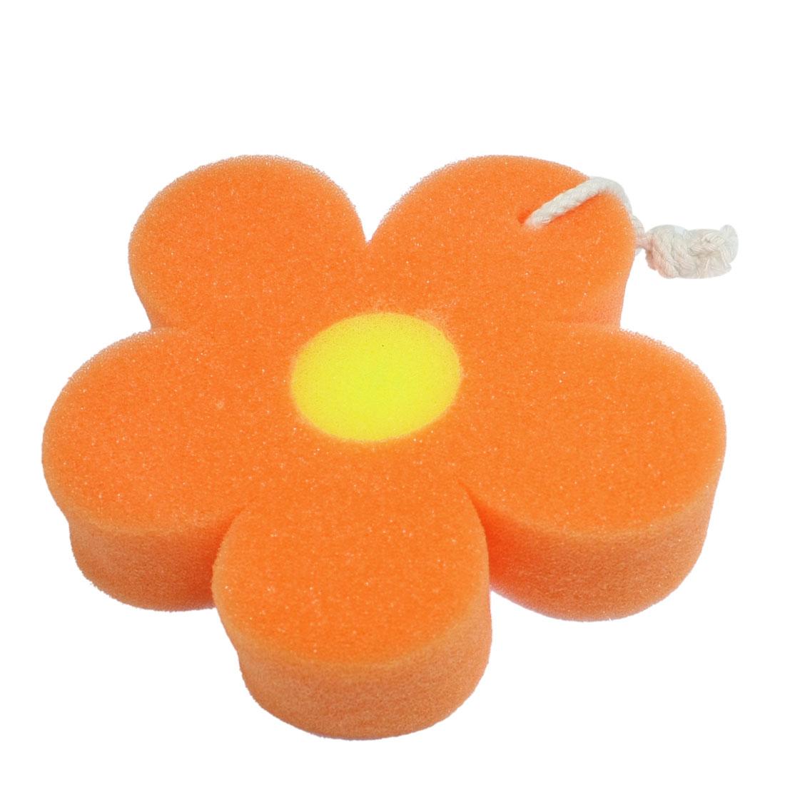 Bathroom Orange Flower Shaped Sponge Bath Scrubber Shower Puff