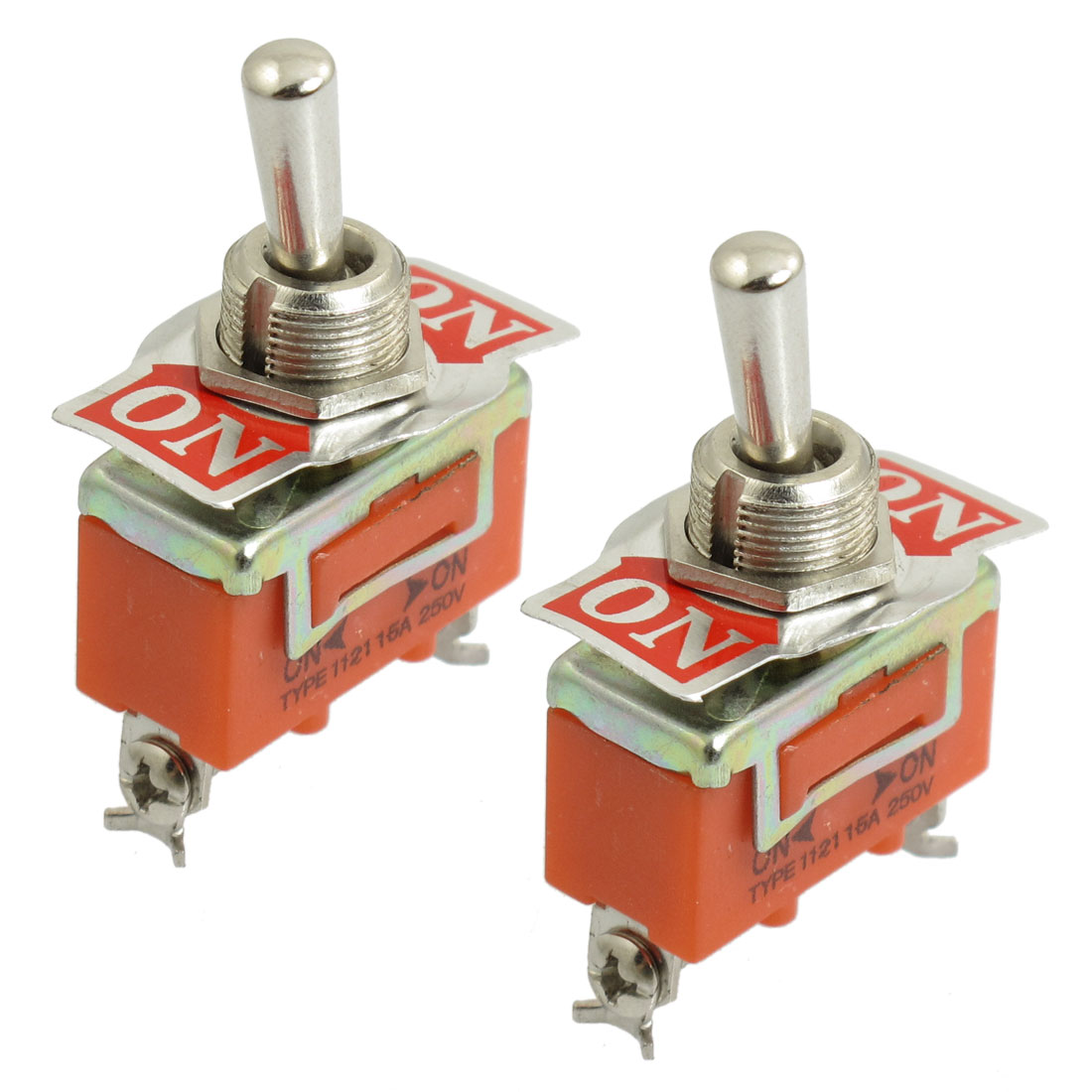 2 Pcs AC 250V 15A ON-ON 2 Position SPDT 3 Screws Terminals Toggle Swith