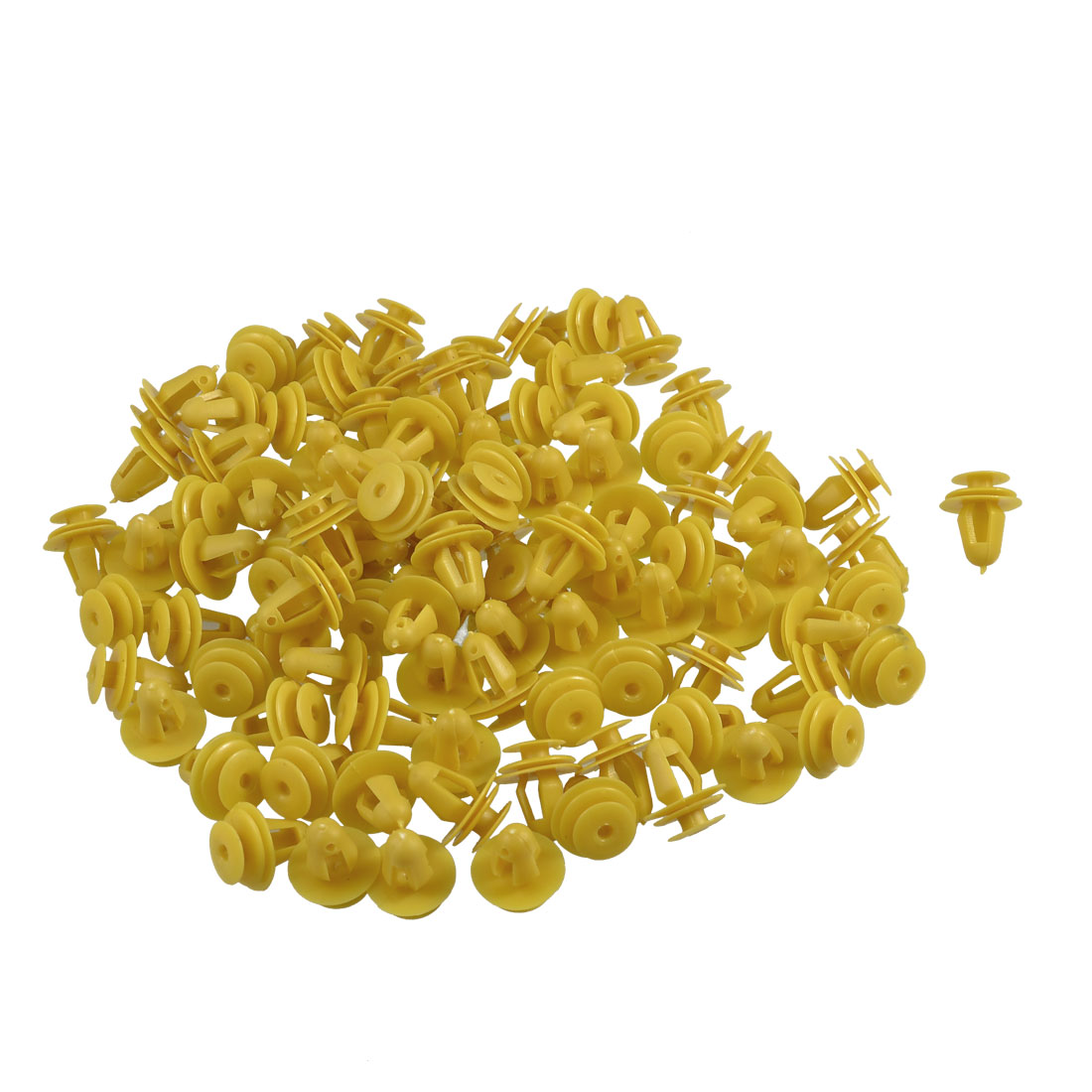 100 Pcs Auto Car Fender Yellow Plastic Rivets Fasteners 17mm x 14mm x 10mm
