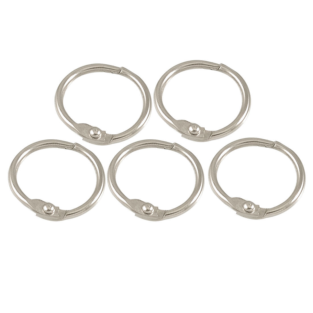 "5 Pcs Silver Tone Metal 1"" Loose Leaf Bundle Book Rings Keyrings"